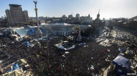 A protest in Maidan Square on February 2