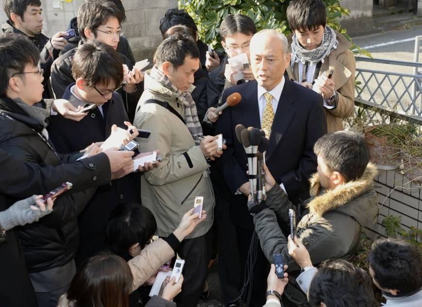 Masuzoe speaking about his candidacy (Photo: The Japan Times)