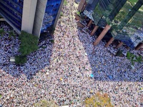 Demonstrators fill the streets