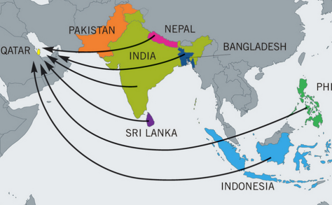 A map showing where the majority of migrant workers are coming from (Image: Amnesty International)