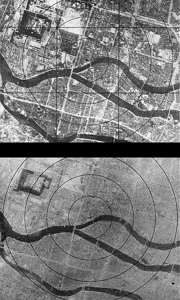 Hiroshima before and after the bomb. Each circle represents 1km from the center of the explosion