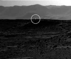 A bright flash of light appears to be visible in this image taken by the right-side navigation camera on NASA's Mars rover Curiosity on April 3, 2014.