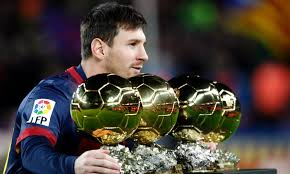 Lionel Messi with his Player of the Year Awards (2009-2012)