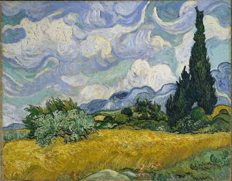 """Wheat field with cypresses""- 1889 (click to enlarge)"