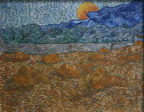"""Landscape with wheat sheaves and rising moon""- July 1889 (click to enlarge)"