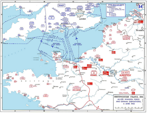 The Allied invasion routes for D-Day. Click to enlarge