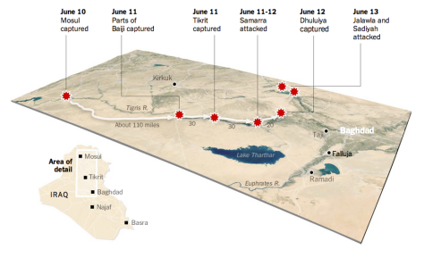 ISIS's advance towards Baghdad. Click to enlarge (Courtesy of The New York Times)