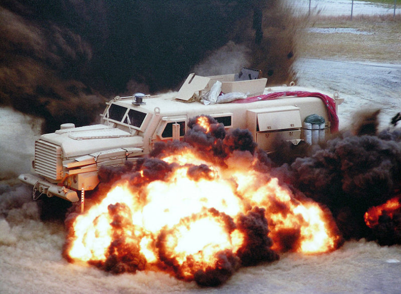 An MRAP being tested (it's driving over landmines, if you were wondering). Click to enlarge
