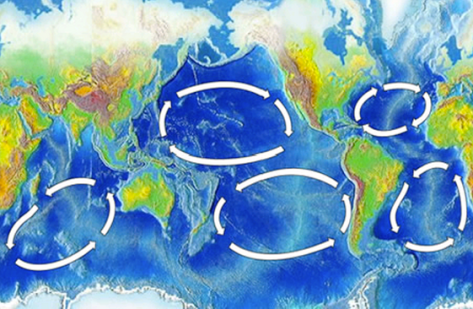 The five gyres. Click to enlarge (Image: Wikimedia Commons)
