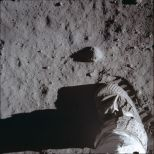 Buzz Aldrin's boot/footprint during testing of the lunar soil (Photo: Image Science and Analysis Laboratory, NASA-Johnson Space Center)