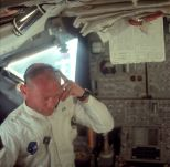 Buzz Aldrin listens to a transmission from mission control in Houston (Photo: NASA/Project Apollo Archive)
