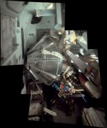 Composite photo of the lunar module's drogue inside the command module. This piece of machinery created drag to help stabilize the lunar lander (Photo: Jon Hancock/NASA)